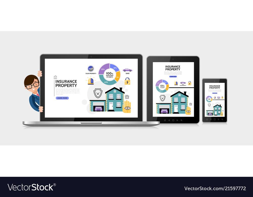 Flat property insurance service concept