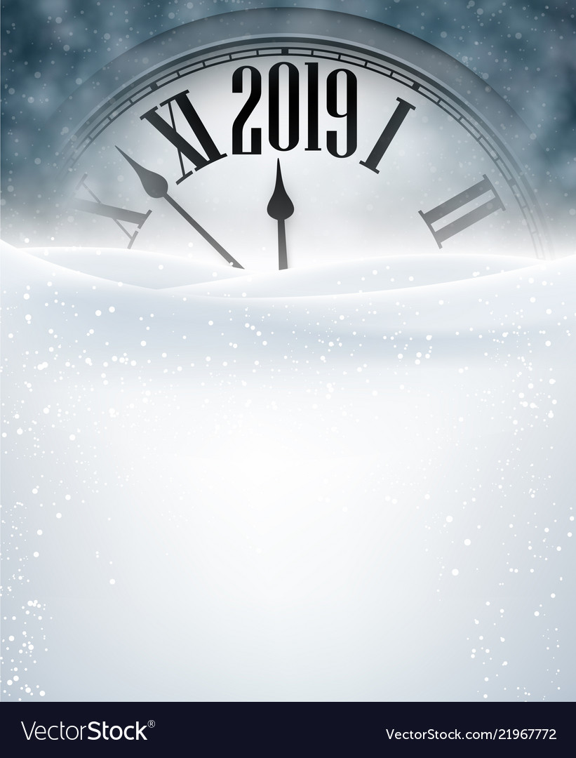 Grey 2019 new year background with clock greeting