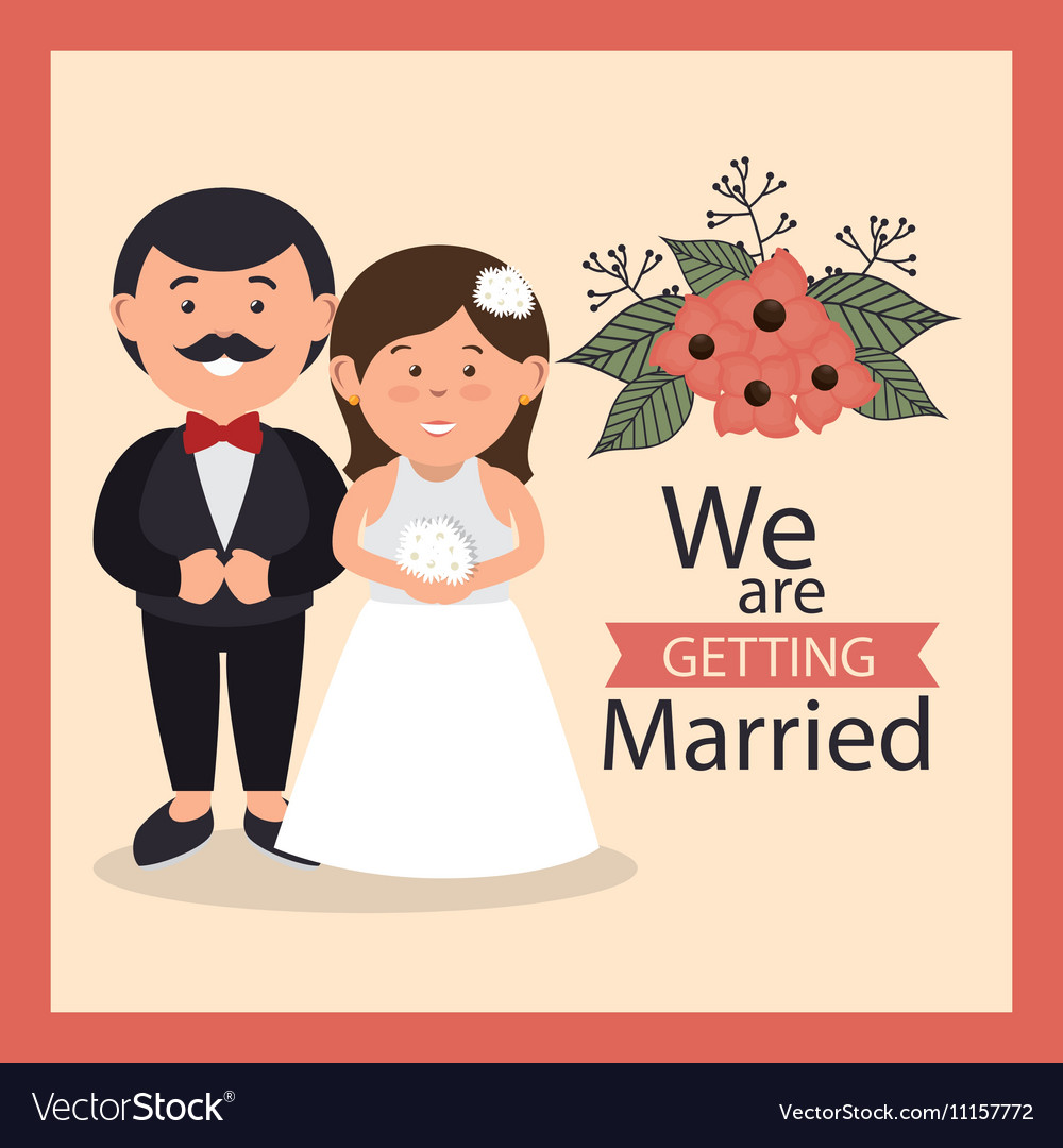 Groom and bride cute weddign card design graphic