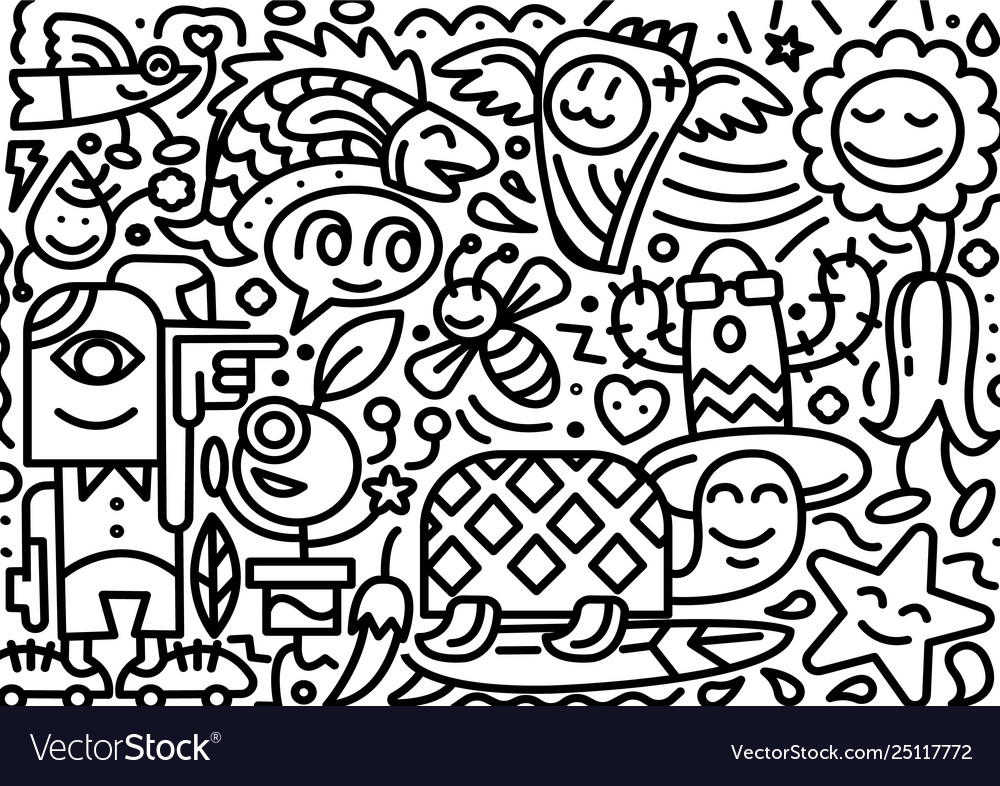 Hand drawn doodle line postcard isolated on white