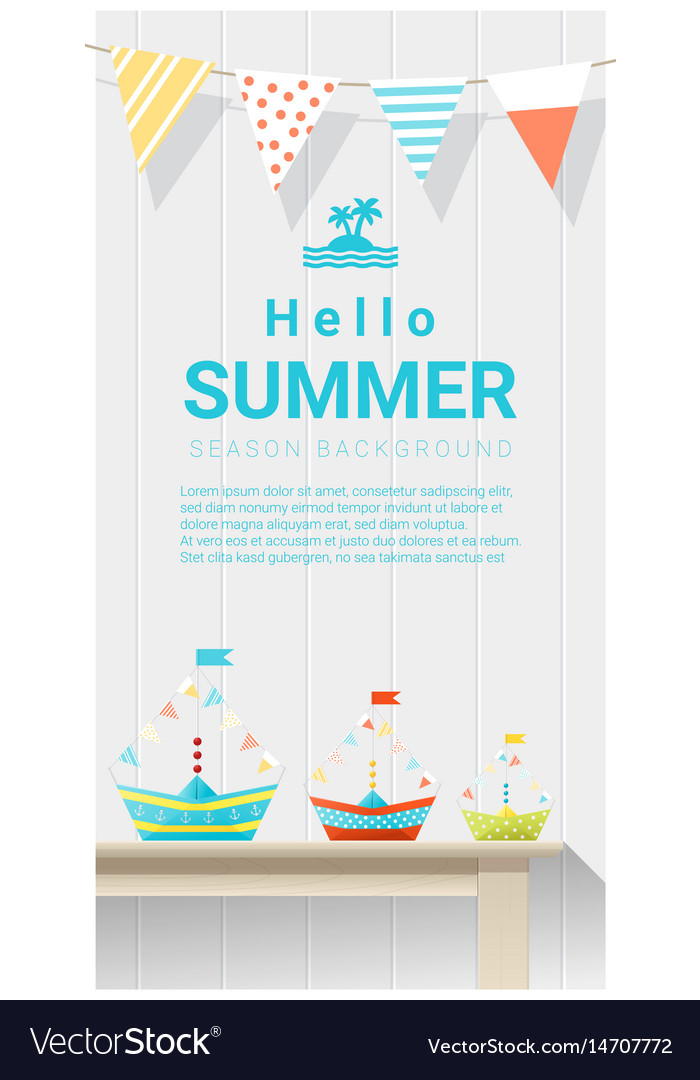 Hello summer background with colorful paper ship