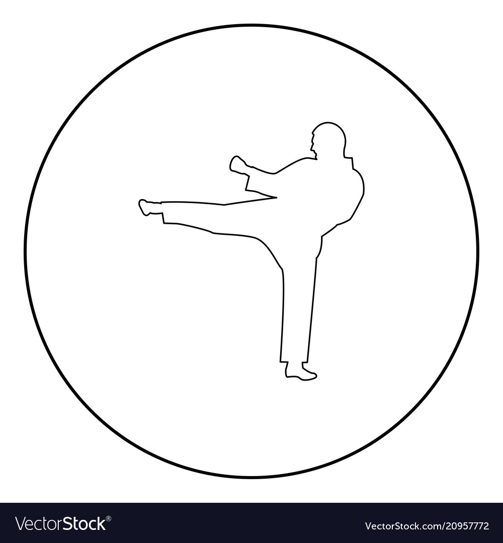Karate man icon black color in circle