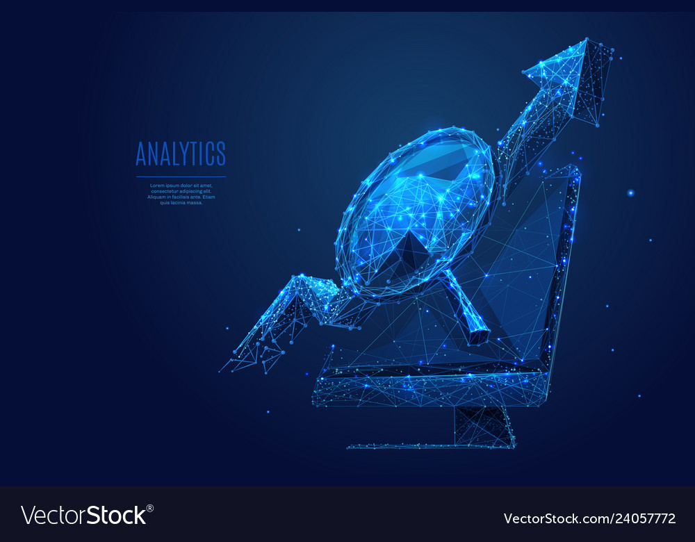 Magnifying arrow up and monitor low poly
