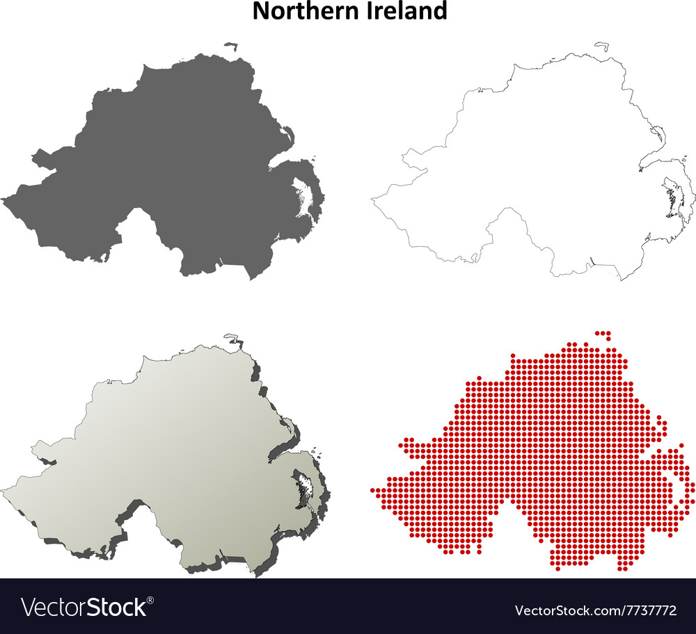 Outline Map Of Ireland.Northern Ireland Outline Map Set Royalty Free Vector Image