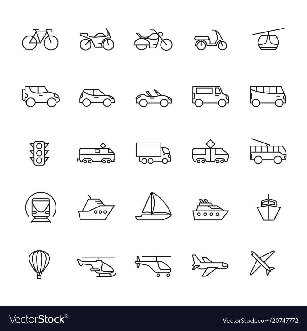 Public passenger transport line icons cars and