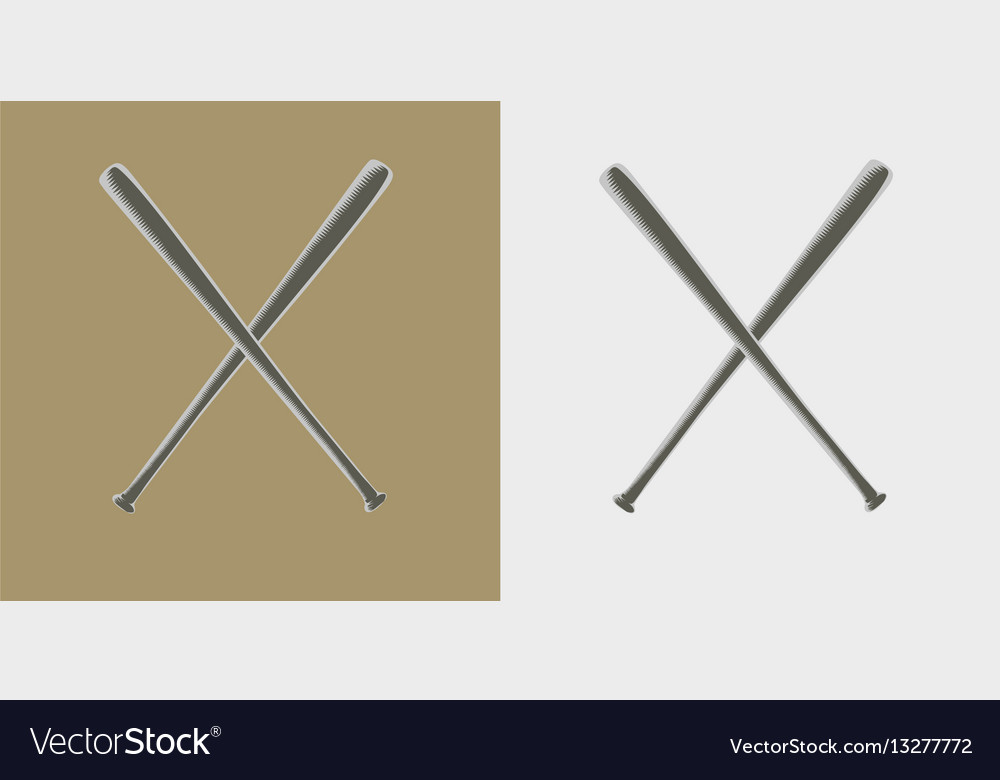 Two baseball bats icon or sign vector image