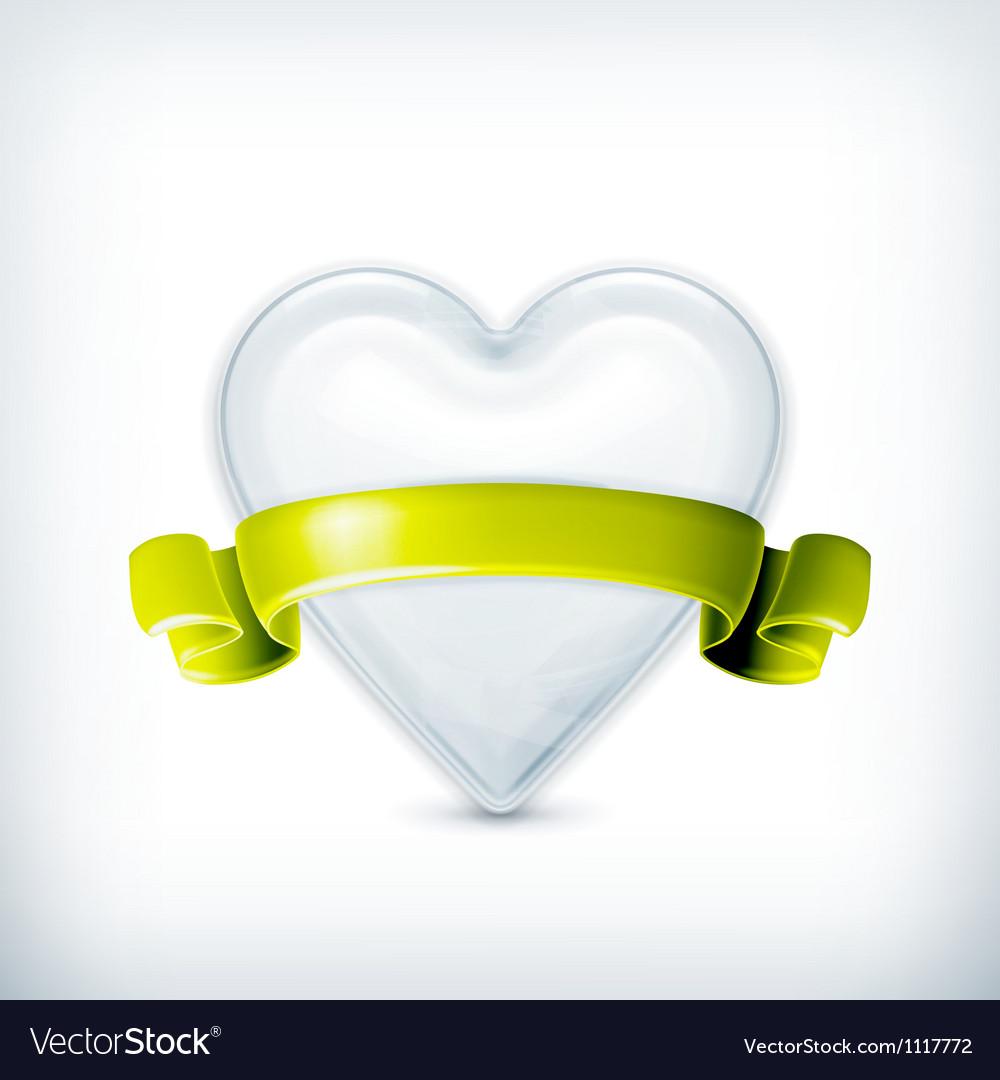 White heart award vector image