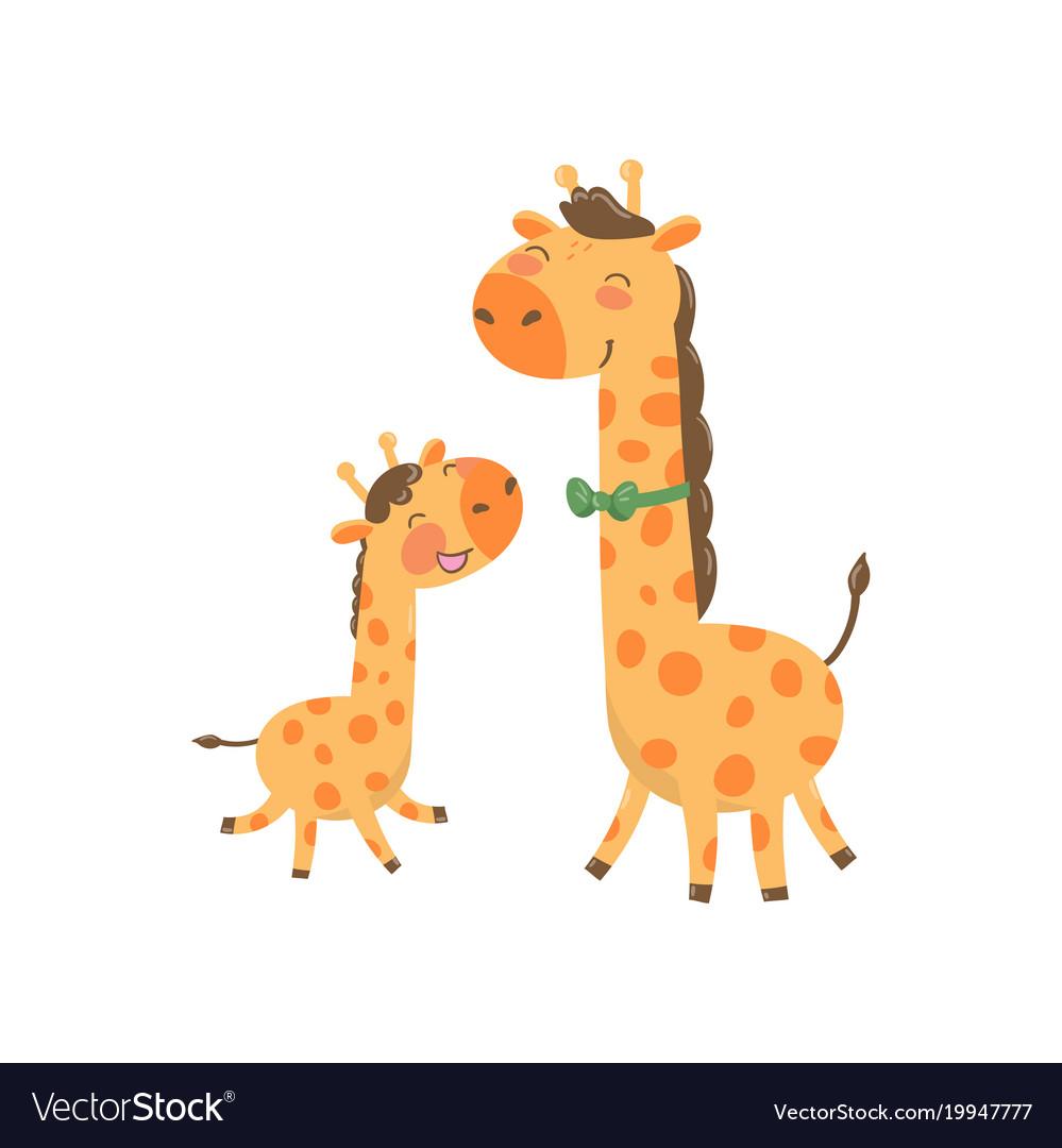Cartoon animal family portrait father giraffe