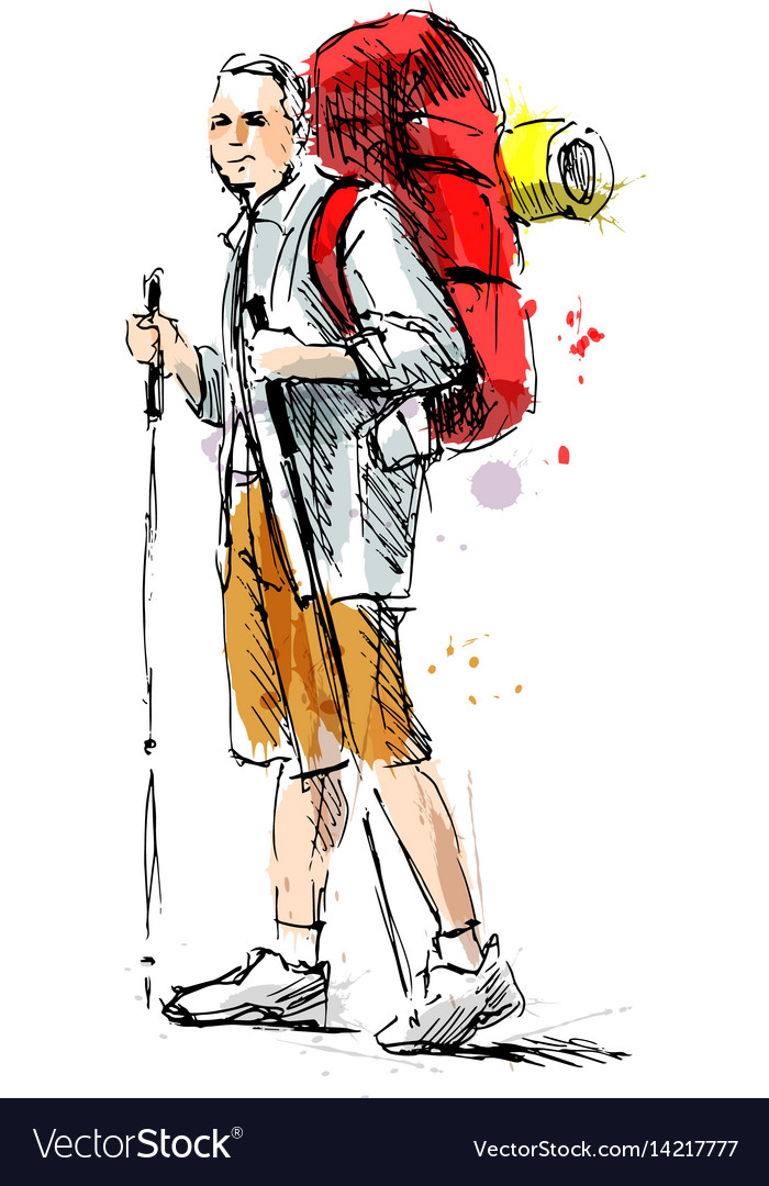 Colored hand sketch of a mountain tourist vector image