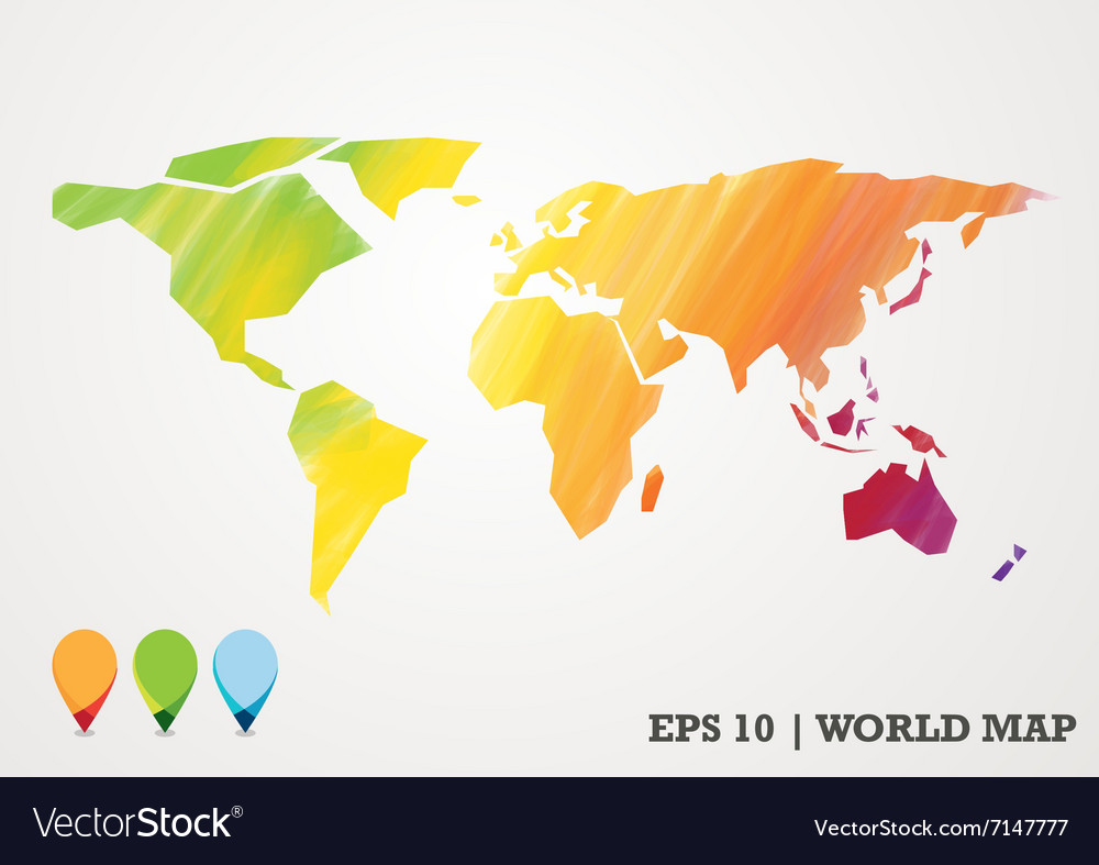 Colorful paper cut world map water color abstract