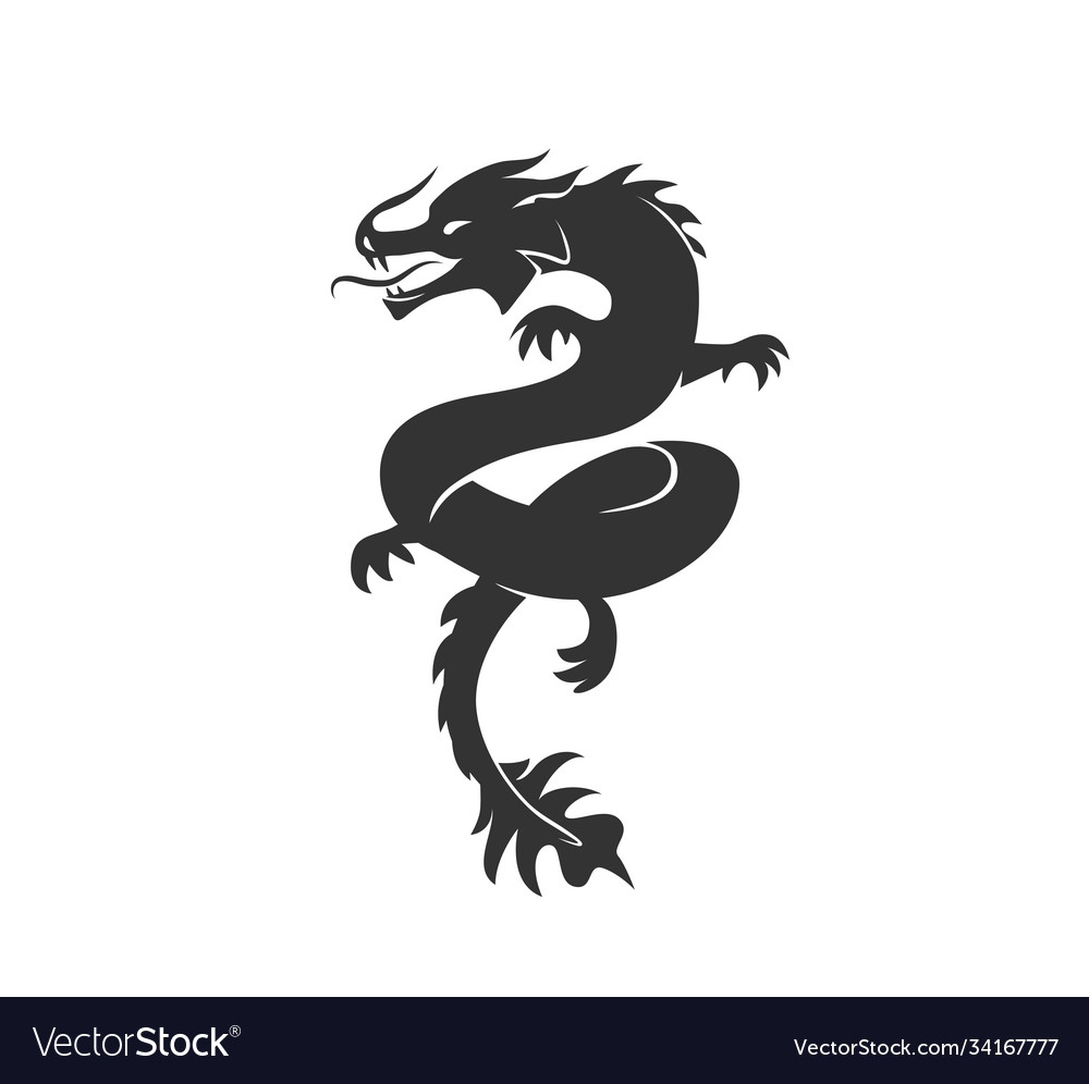 Dragon silhouette black and