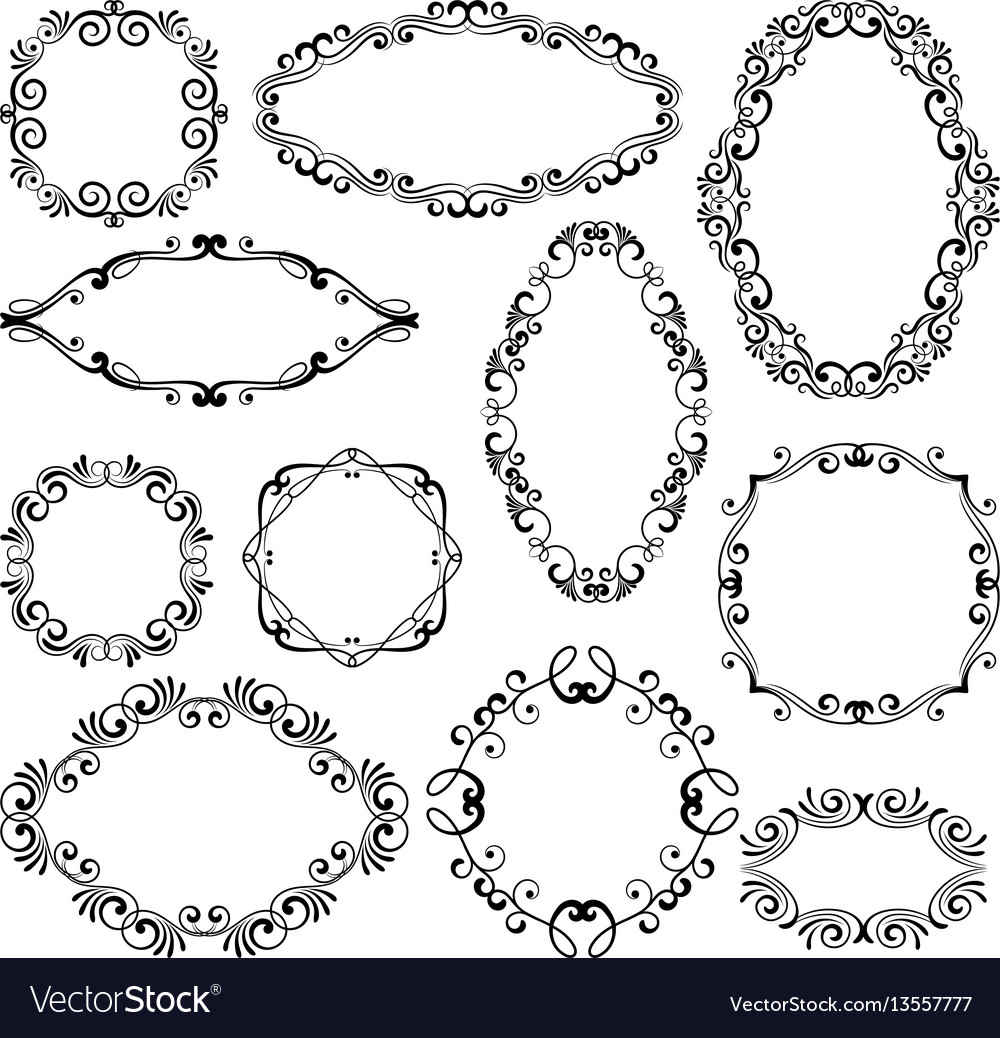 Floral design filigree frame elements vector image