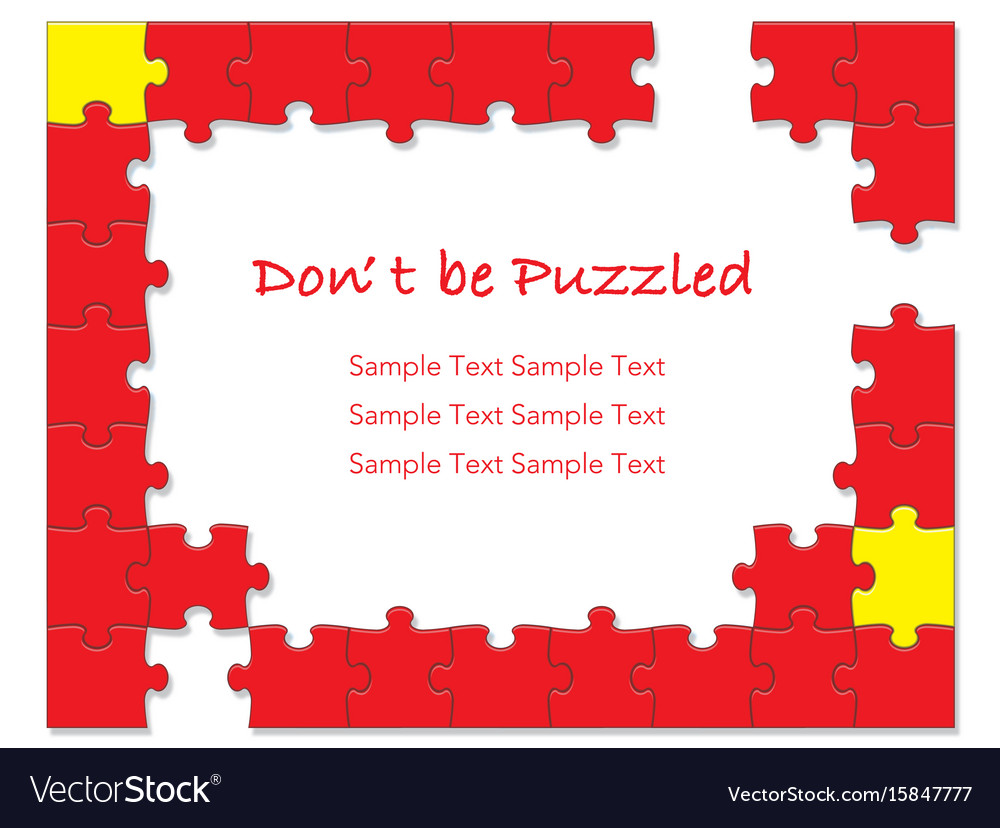 Jigsaw puzzle frames 1 red Royalty Free Vector Image