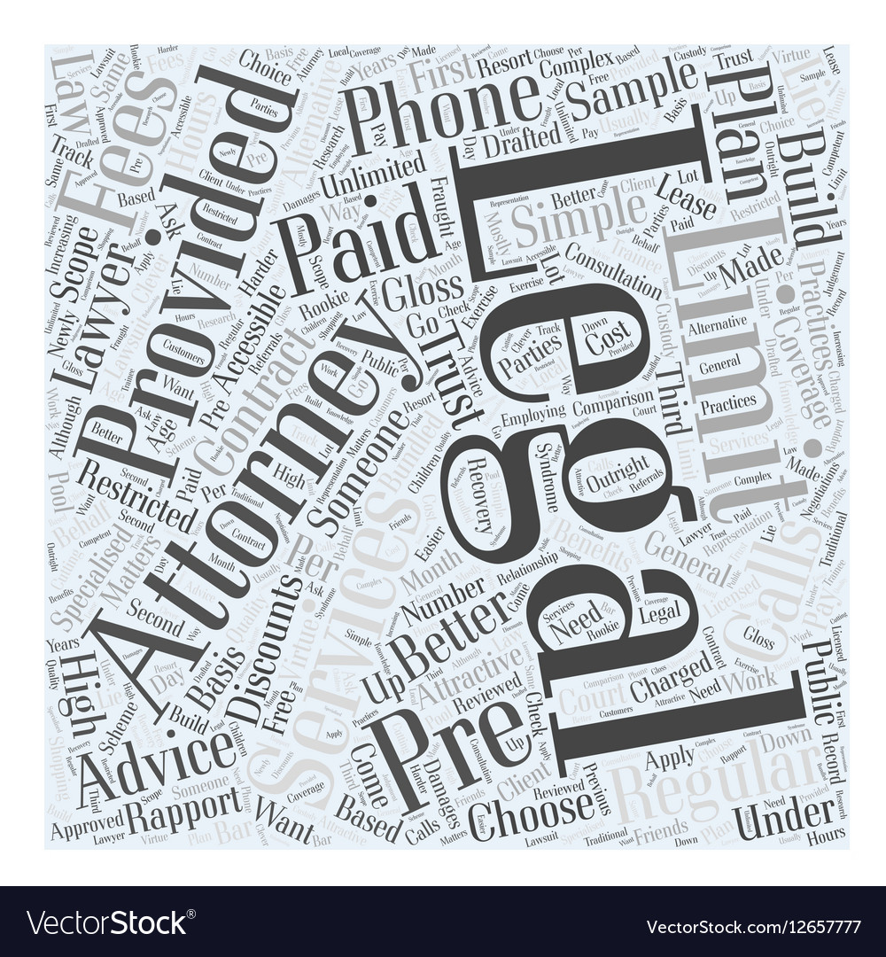 Limitations of Pre Paid Legal Services Word Cloud vector image