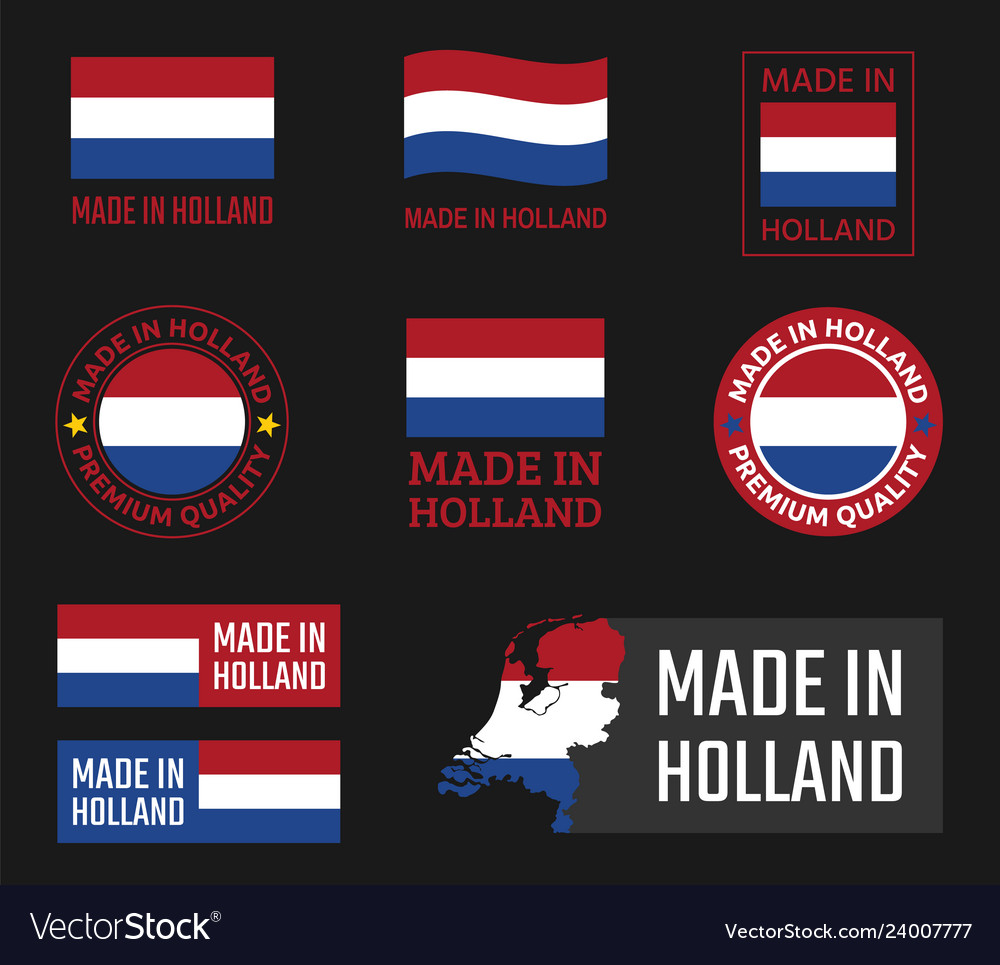 Made in netherlands labels set holland product