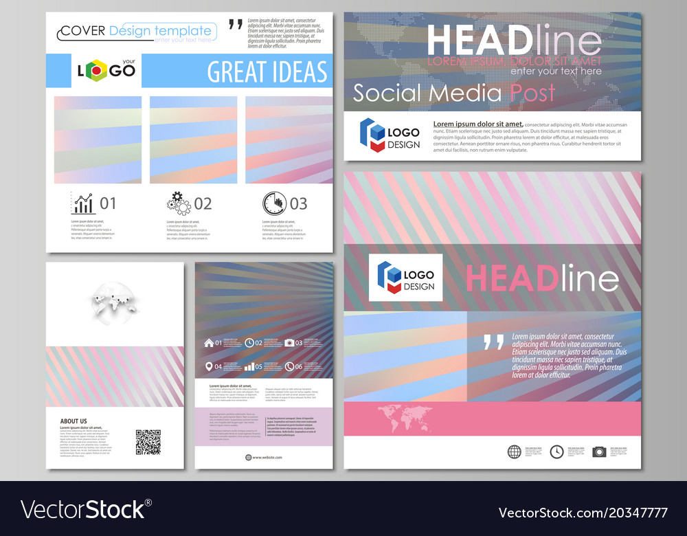 Social Media Posts Set Business Templates Easy Vector Image - Template for social media posts