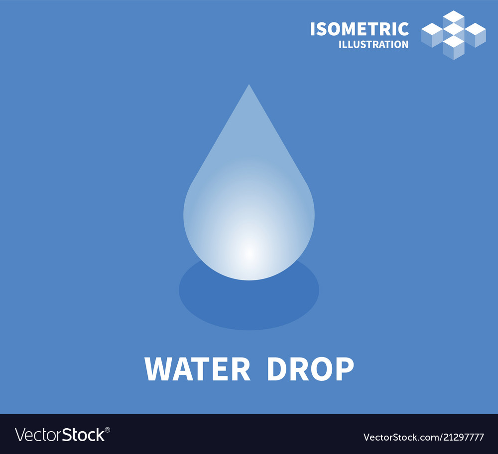 Water drop icon isometric template