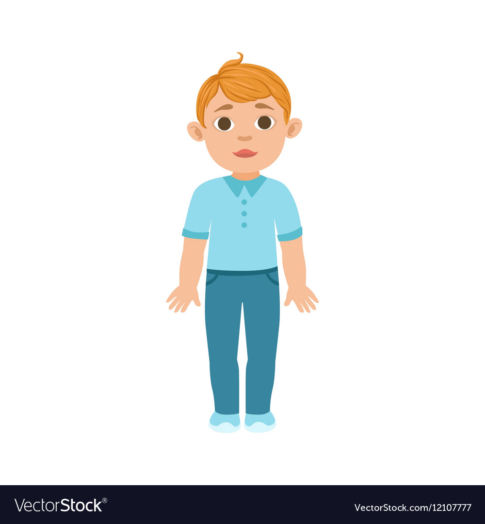 White Boy Kid Standing Part Of Growing Stages vector image