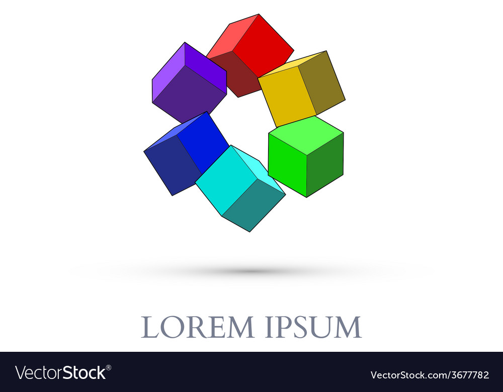 Abstract Colorful Cubes vector image