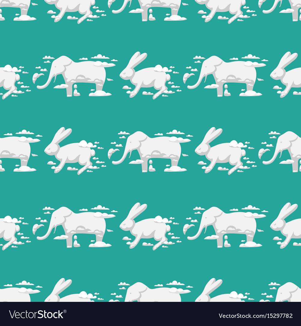 Animal clouds silhouette rabbit seamless pattern
