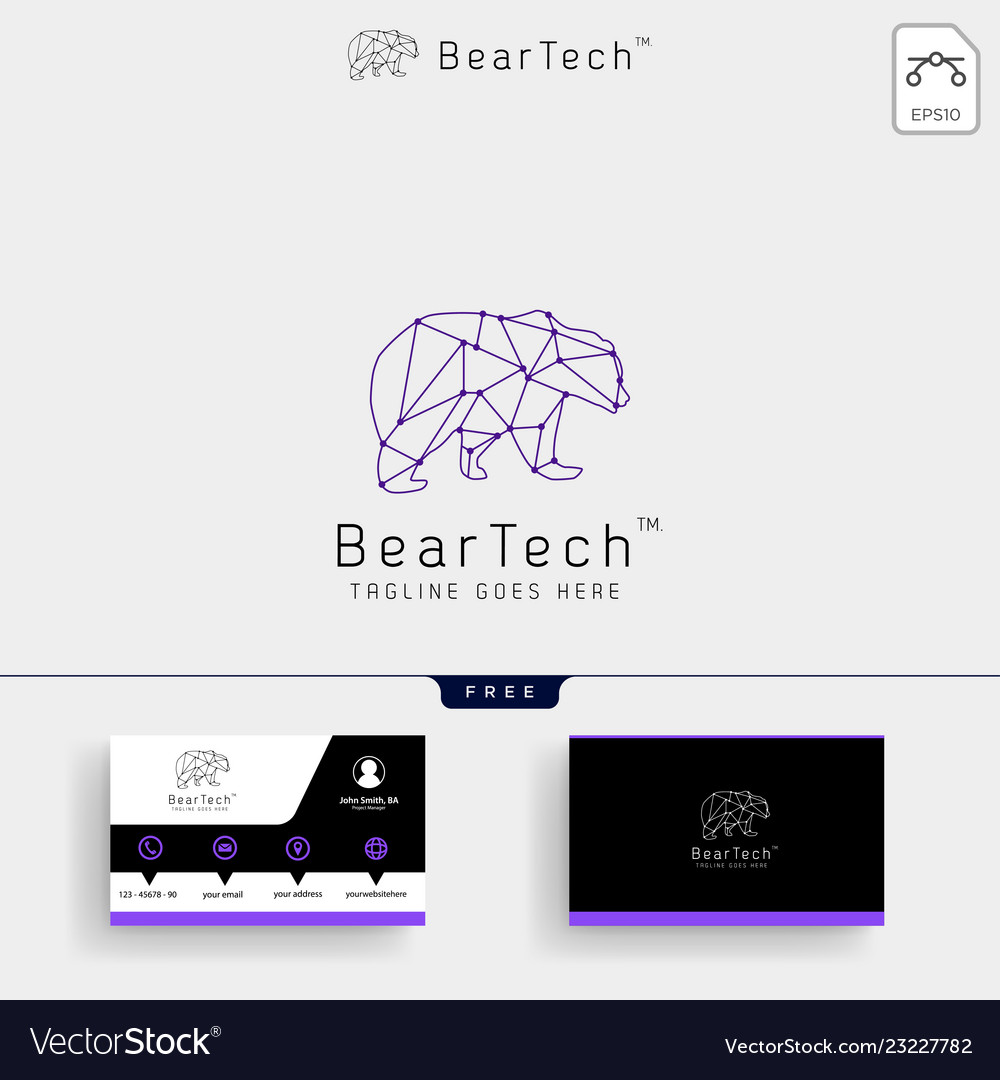 Bear tech geometric logo template and business