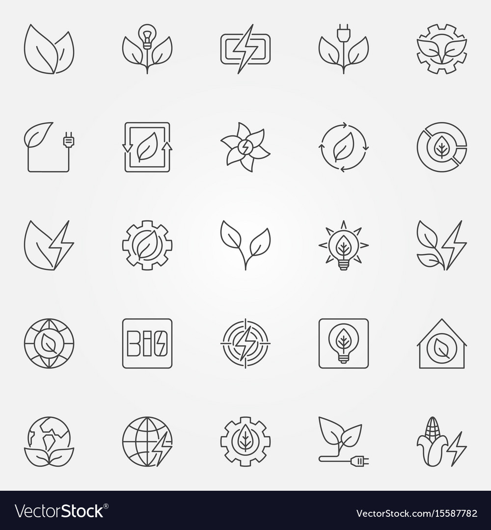 Bioenergy icons set vector image