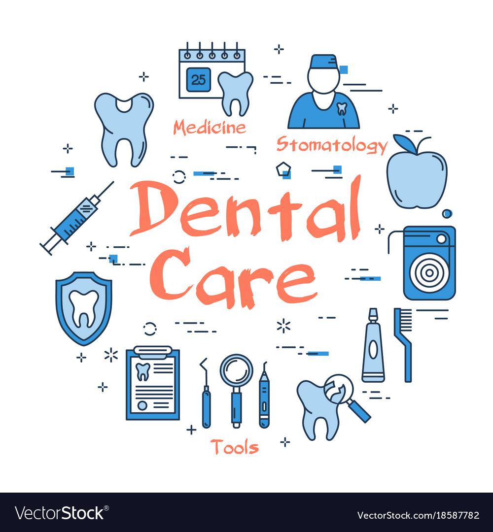 Blue round dental care concept