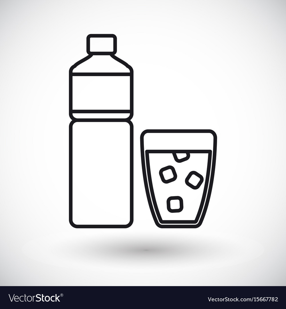 Bottle of water and glass thin line icon