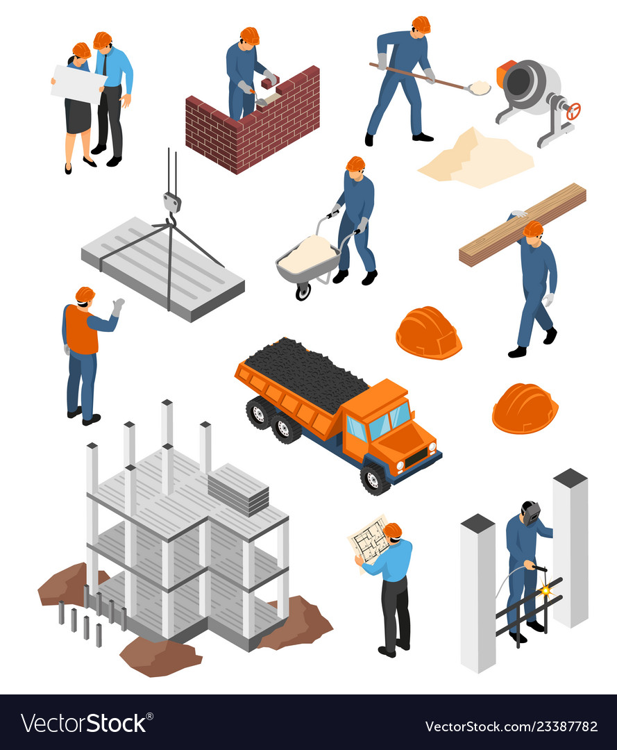 Builders architects isometric set