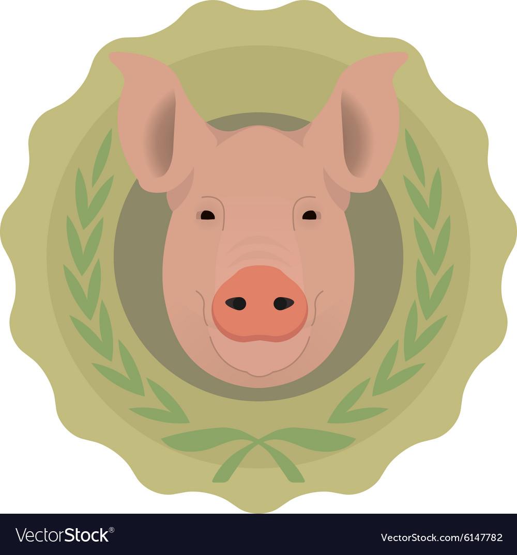 Butchery eco logo Pig in laurel wreath No vector image