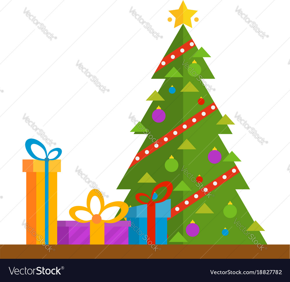 Christmas Tree With Golden Star Gifts And Garland