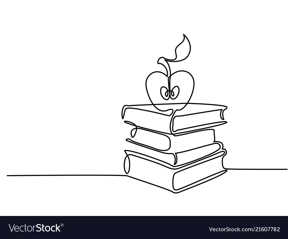 Continuous line drawing stack of books with apple