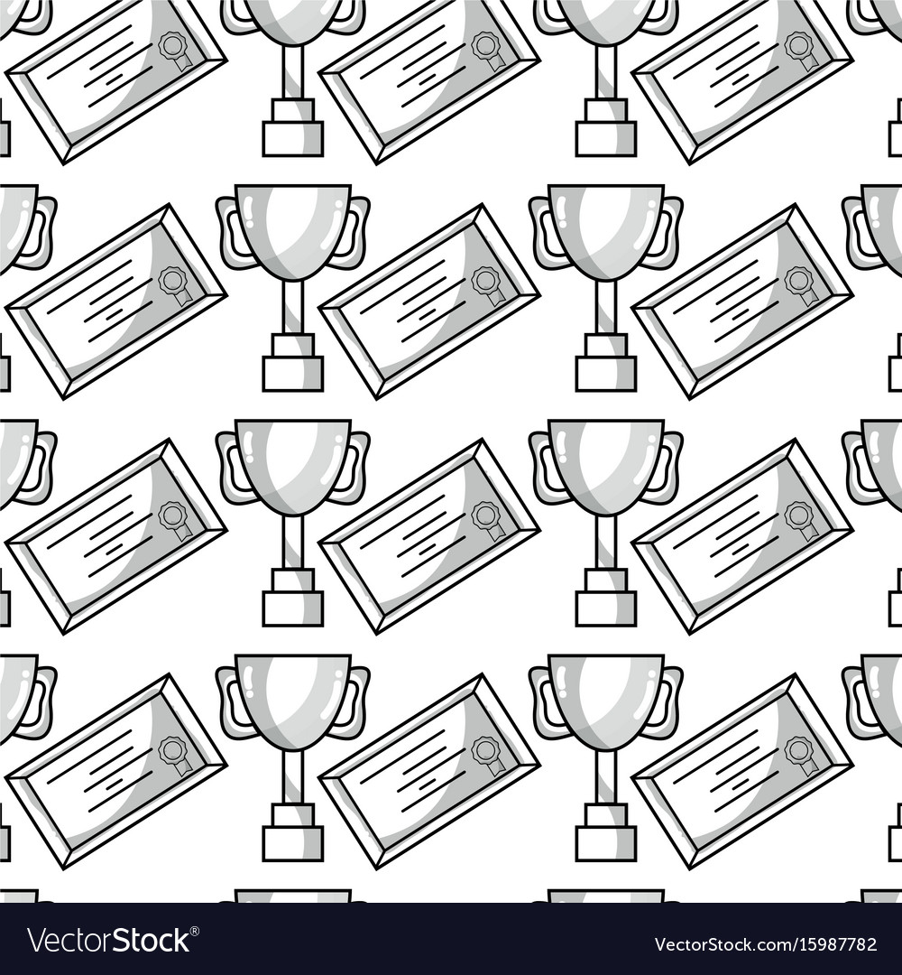 Cup prize symbol and diploma graduation background