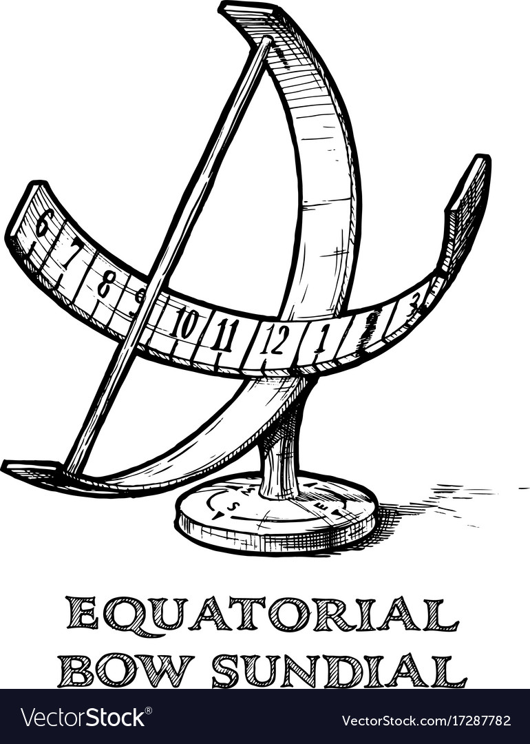Equatorial bow sundial Royalty Free Vector Image