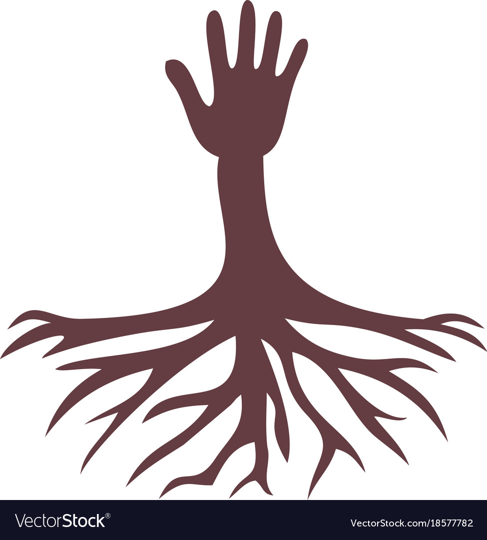 Hand and root logo