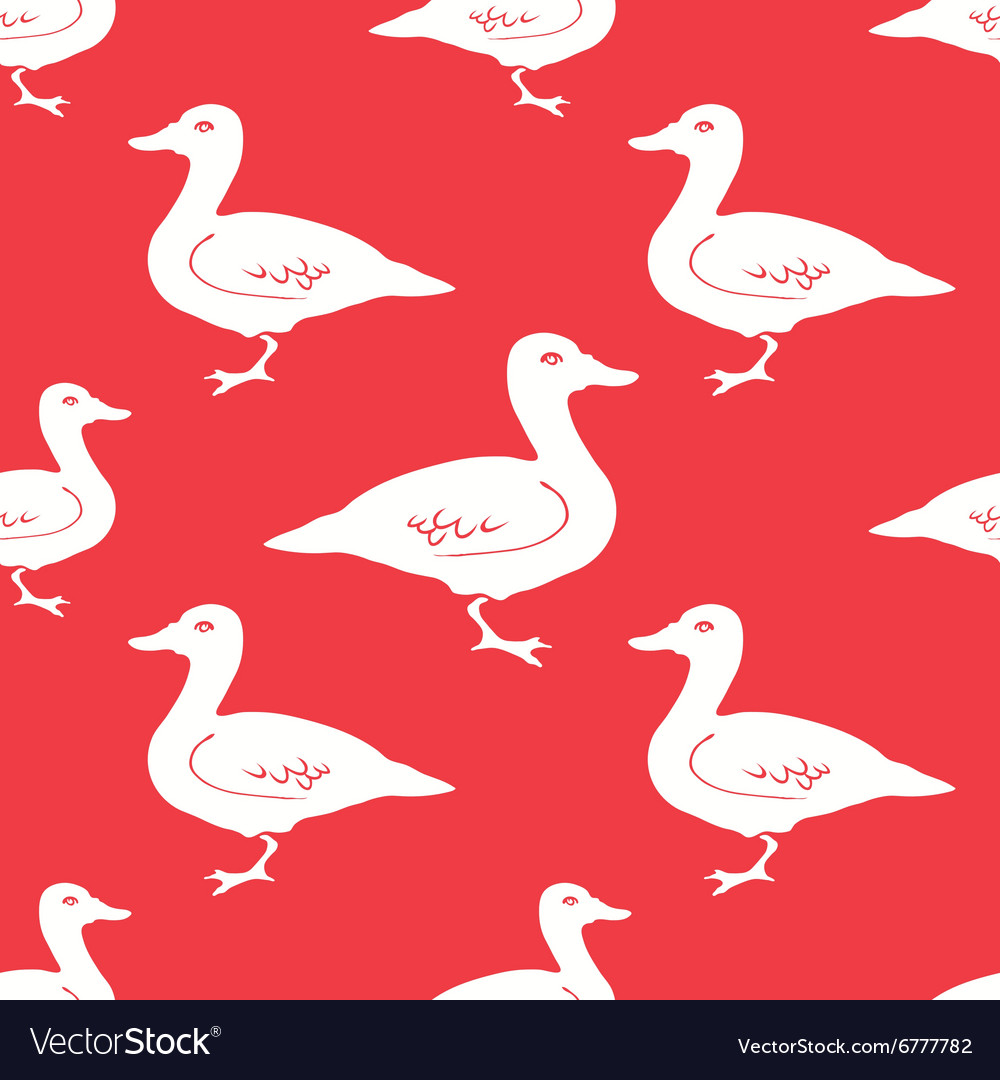 Hand Drawn Duck silhouette seamless pattern