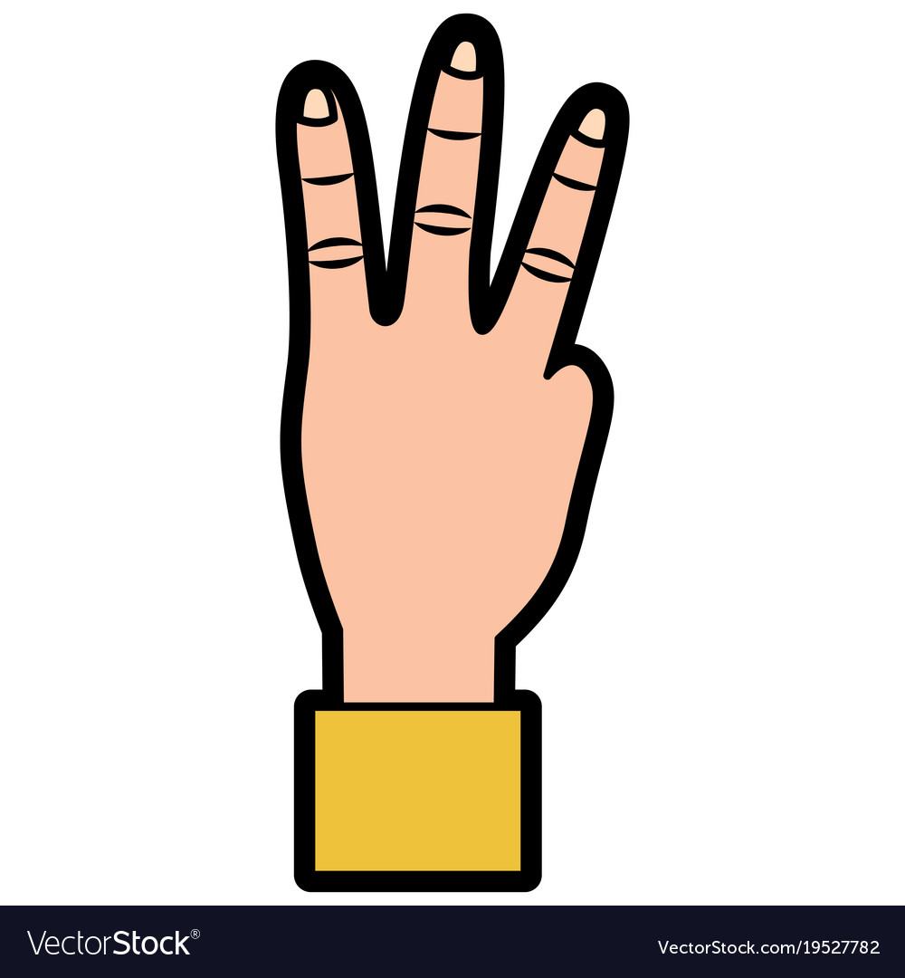 Hand showing three fingers gesture vector image on VectorStock