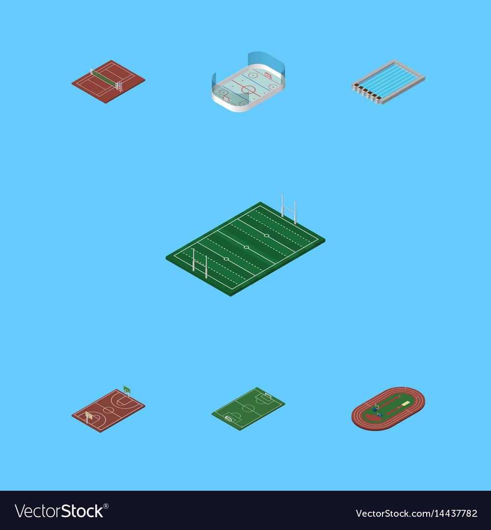 Isometric lifestyle set of ice games run stadium