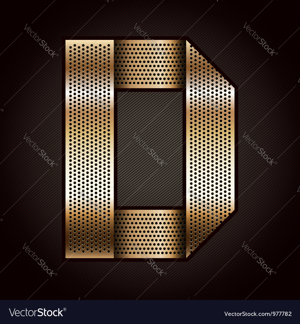 Letter metal gold ribbon - D vector image