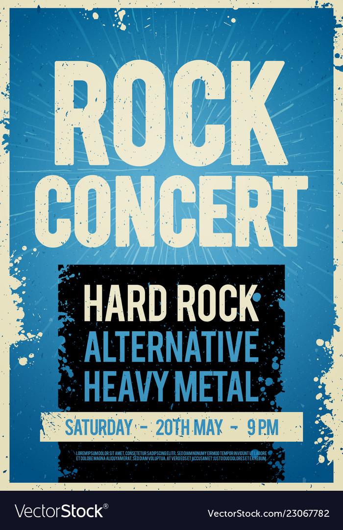 Rock concert retro poster design template