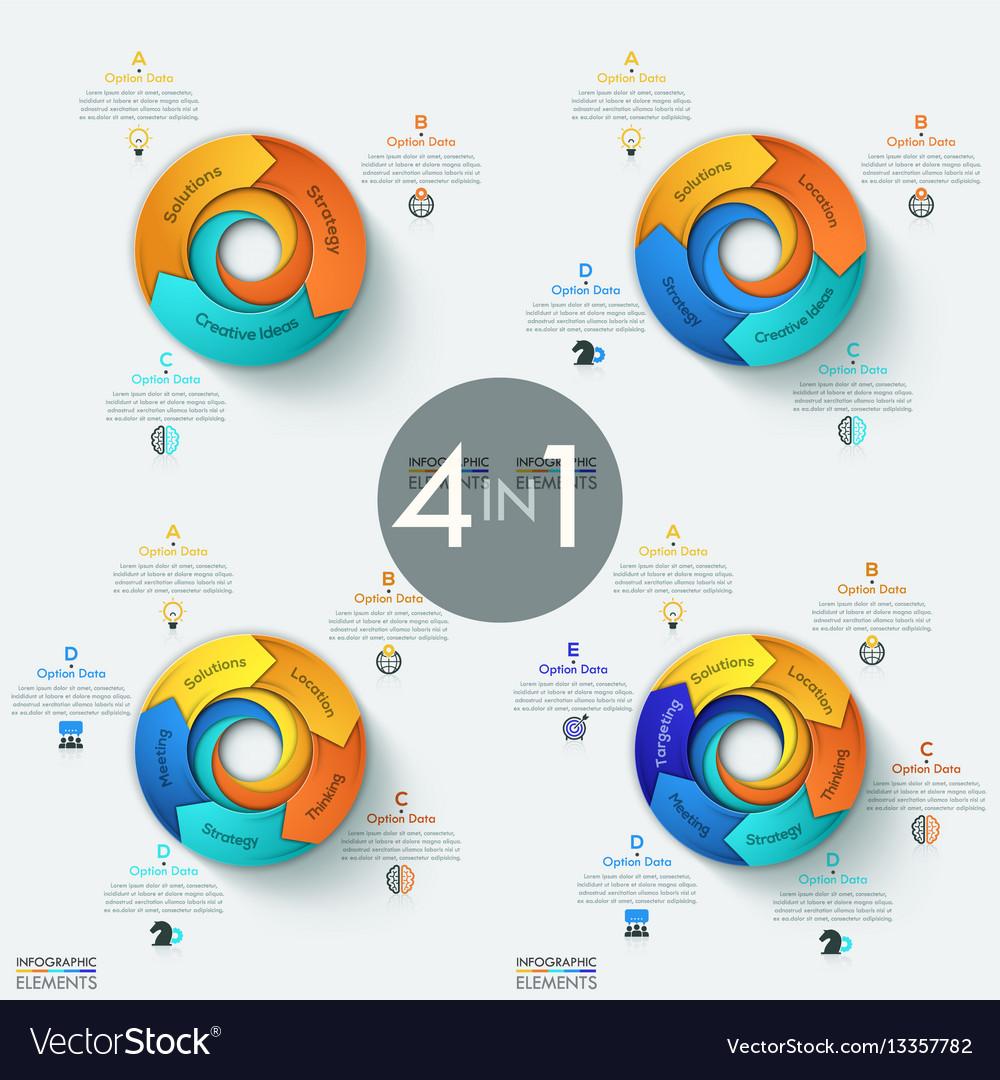 Set of 4 modern circular infographic design