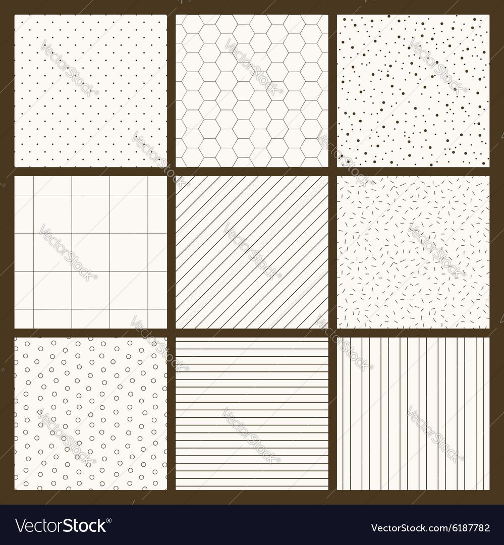 Set of 9 simple seamless monochrome patterns