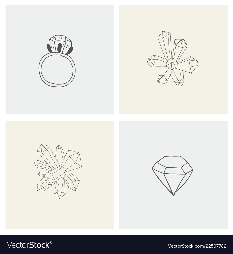 Set with crystal ring mineral diamond for print
