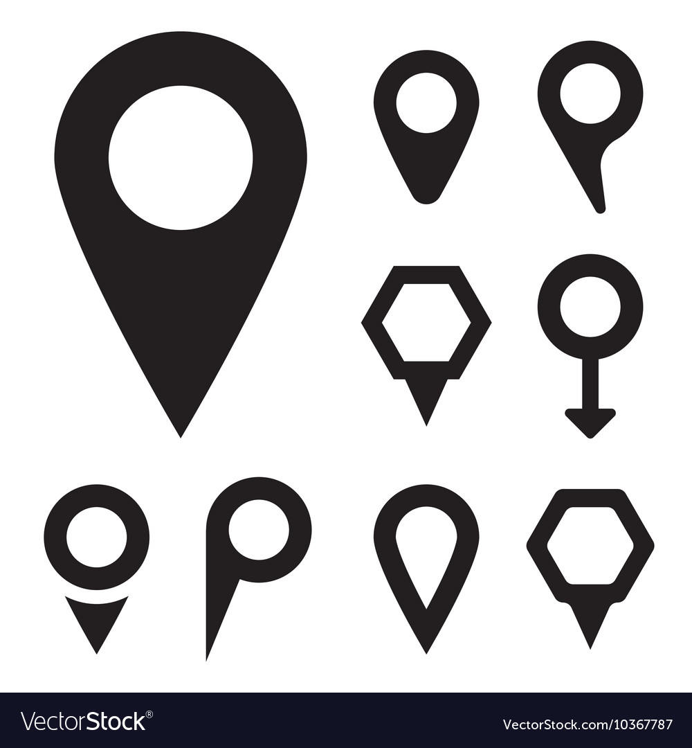 Black map pointer icons set Royalty Free Vector Image