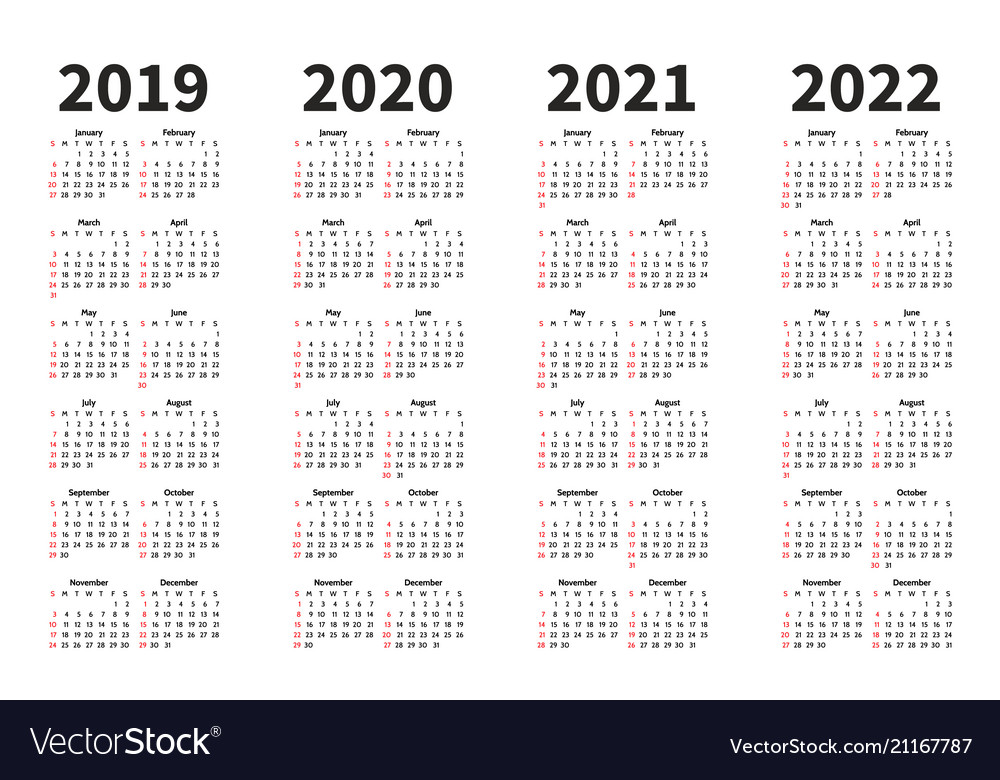 Calendar 2019 2020 2021 and 2022 year Royalty Free Vector