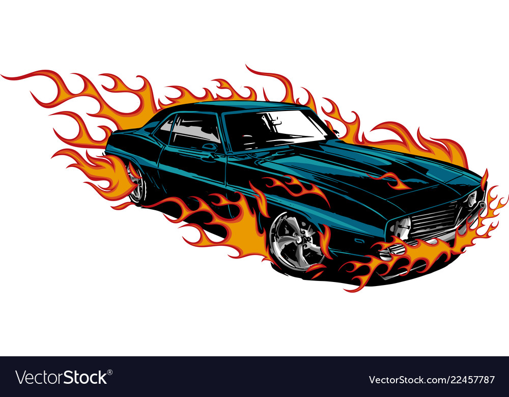 Car Muscle Old 70s With Flames Royalty Free Vector Image
