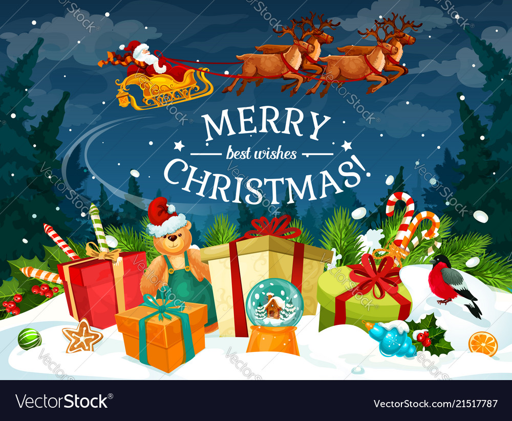 Christmas Gift And Santa Sleigh Greeting Card Vector Image
