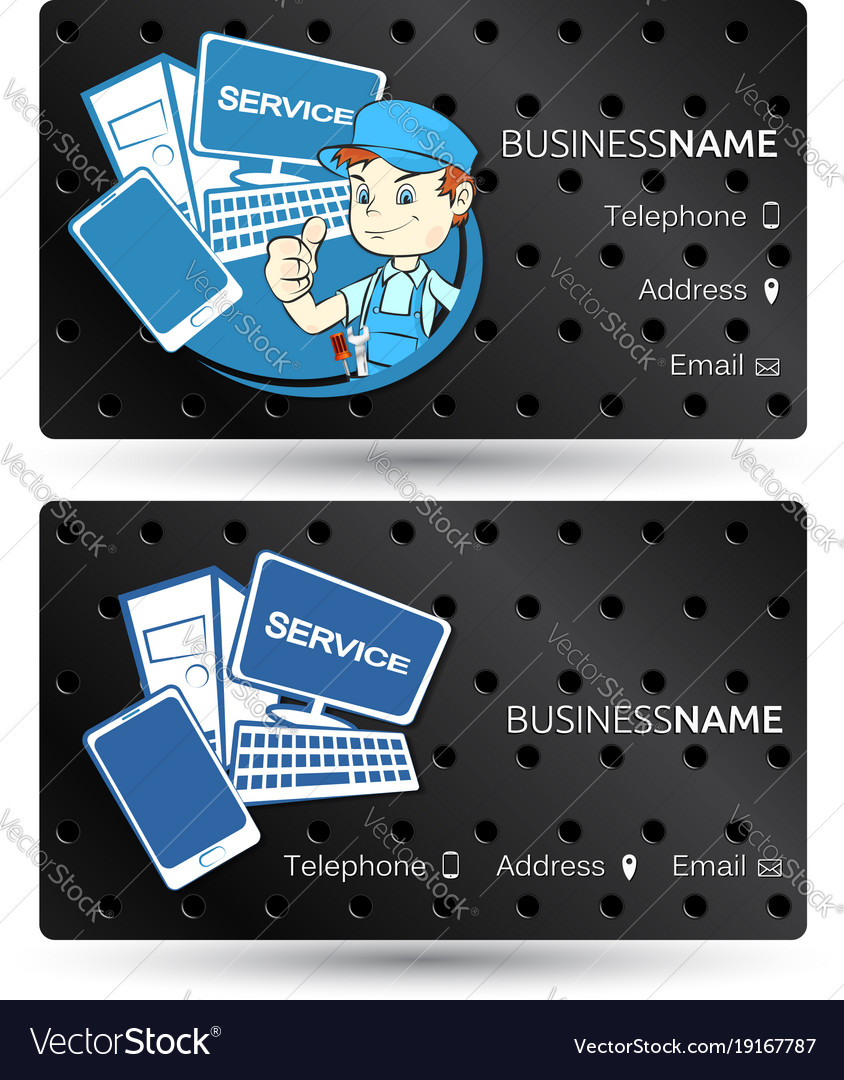 Computer hardware repair business card Royalty Free Vector