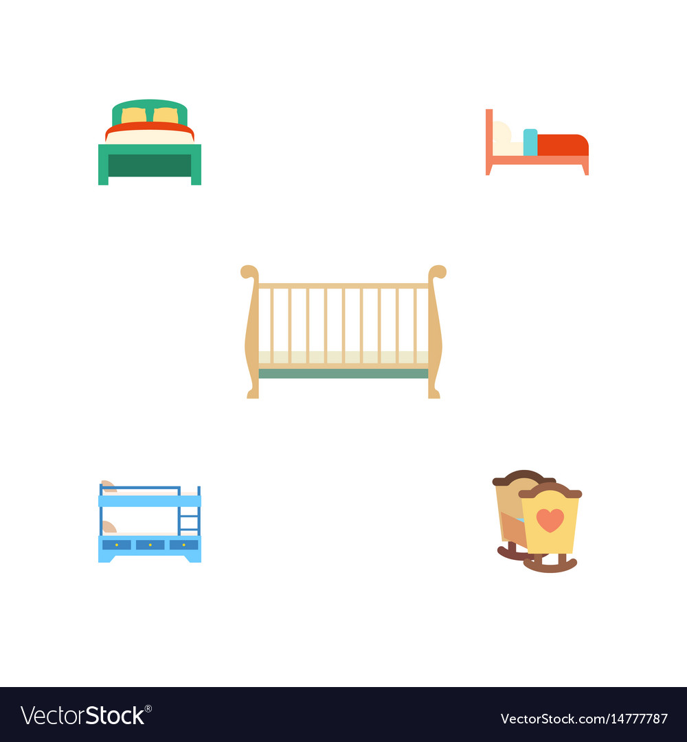 Picture of: Flat Bedroom Set Of Bearings Crib Bunk Bed And Vector Image