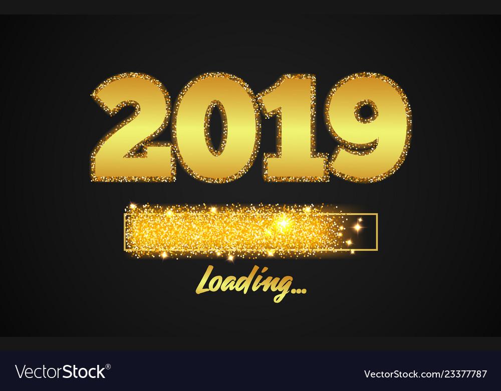 Golden loading bar showing progress new year